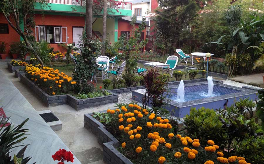 Seasonal Flower Garden of New Pokhara Lodge Lakeside Pokhara Nepal.