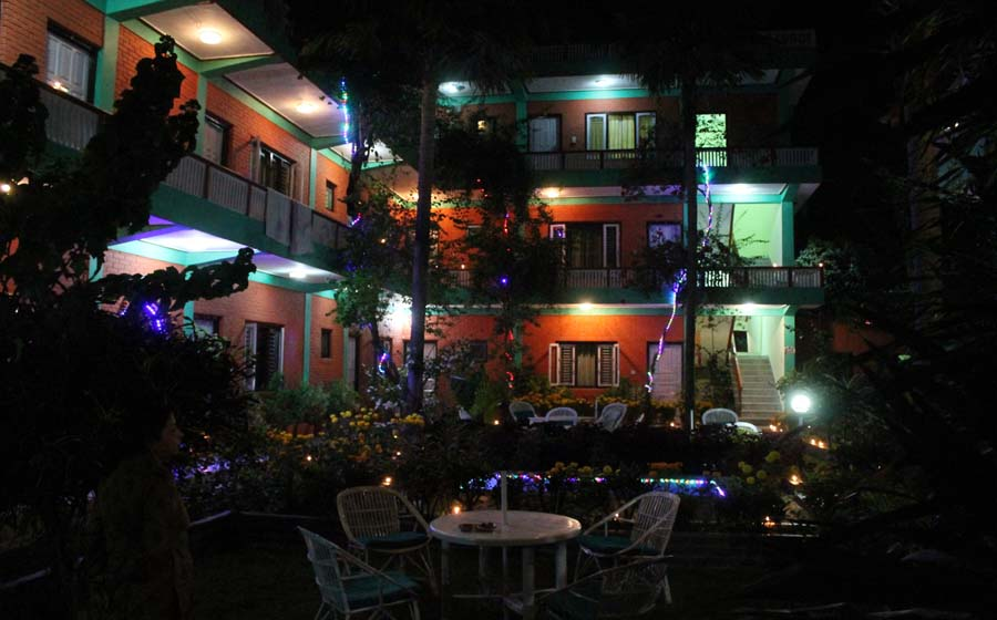 Night view of New Pokhara Lodge