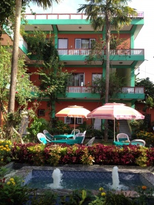 3 floor building of the hotel new pokhara lodge lakeside Pokhara
