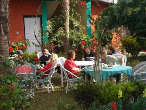 Tourist Relaxing in the Garden of a Hotel in Lakeside Pokhara