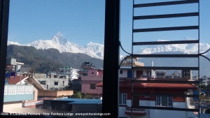 Best mountain view from New Pokhara Lodge, Lakeside Pokhara, Nepal.