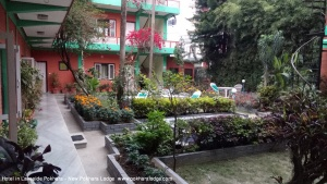 Garden and hotel building