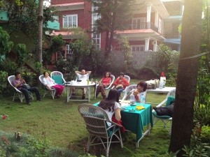 Full of Tourist at the Garden of a hotel in Lakeside Pokhara - New Pokhara Lodge